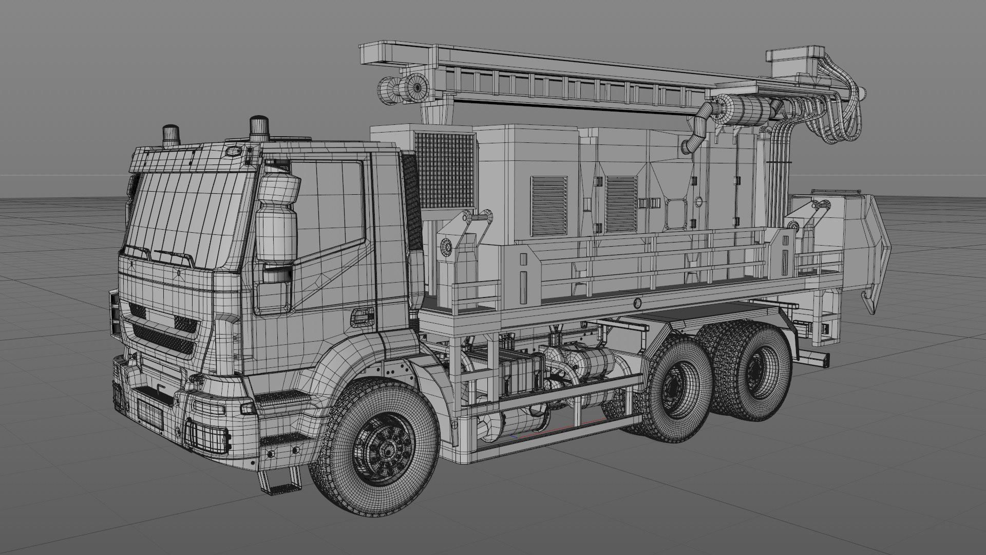 Projects_CharityWater_process_Drilling_Rig_model_01_C4Dviewport
